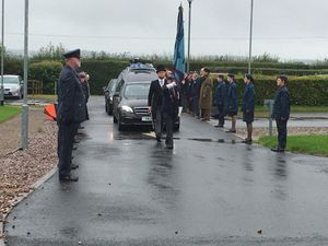Military personnel lined the route at the funeral of Wilfred George Dawson, 99, a wireless operator and air gunner in RAF Bomber Command in the Second World War