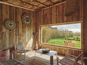The large windows situated in the lodges allow guests to view the Park's cheetahs Azrael and Bappe
