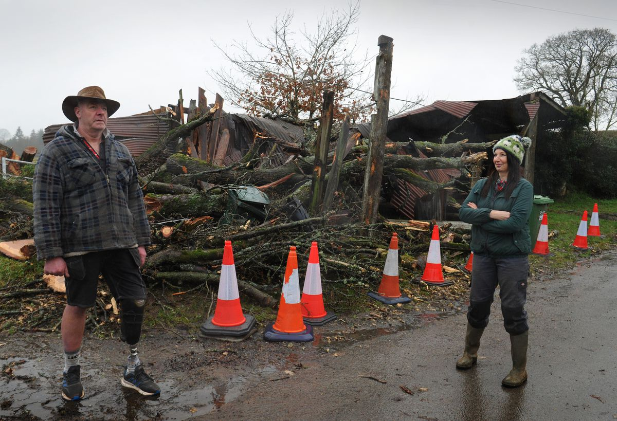 James and Tina at Brookhouse Animal Sanctuary, where a 70ft tree fell onto their pig building