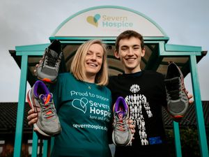 Sharon Evans, from Bridgnorth, with her son Jordan, who has persuaded her to run the London Marathon once again