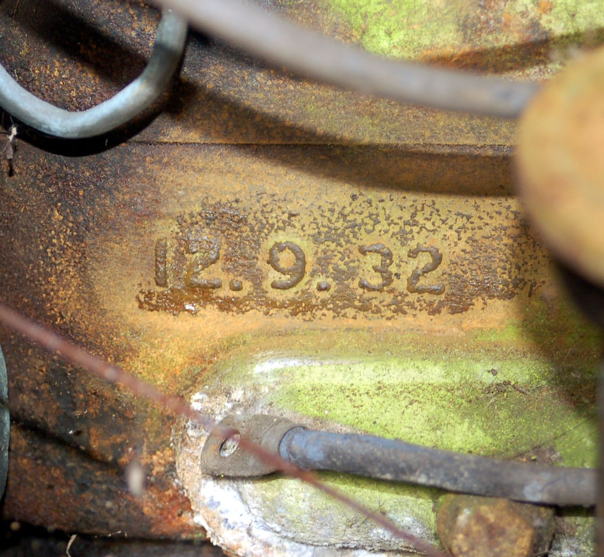 The engine block, pictured in 2008, bearing the date 12.9.32. The engine has been completely rebuilt.