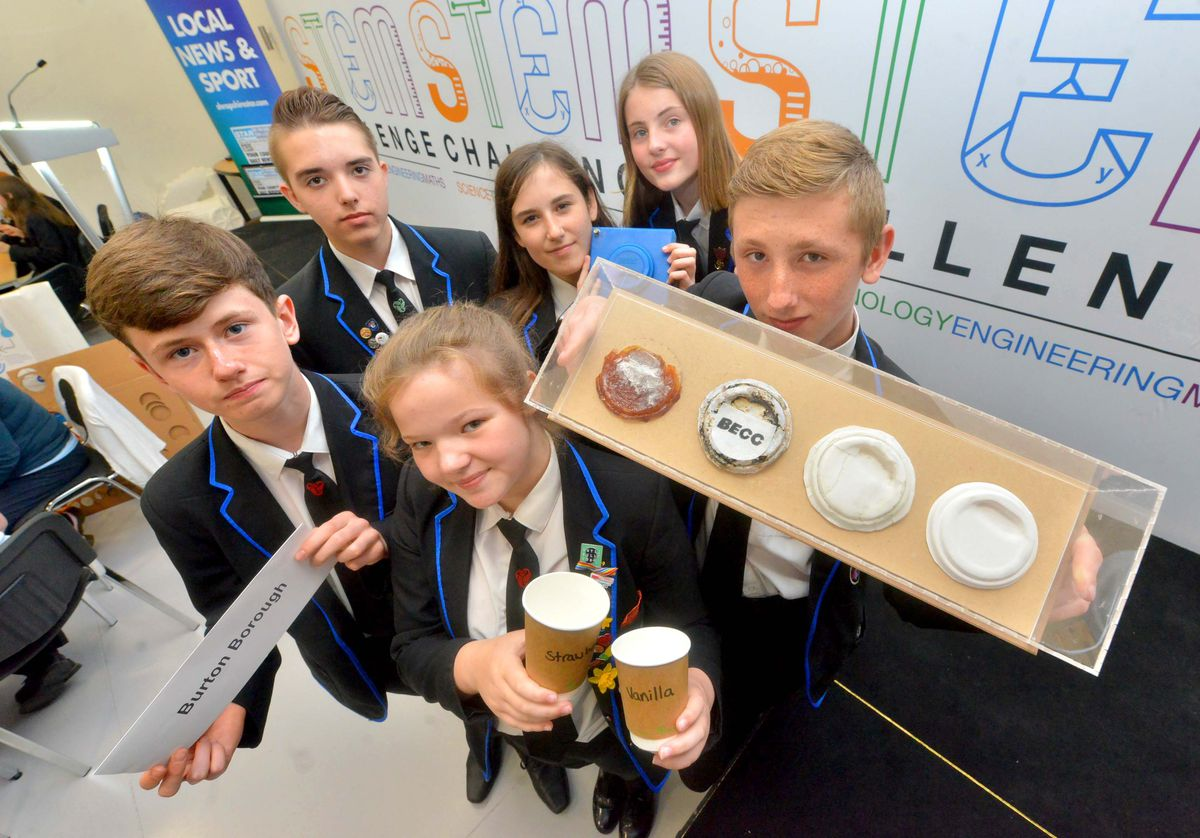 Burton Borough with an edible coffee cup lid - Alex Cochrane, 14, Oscar Cadwallader, 14, Isabelle Fidler, 14, Abigail Richards, 14, Adrianna Wheeler 14, Harry Roberts 14.