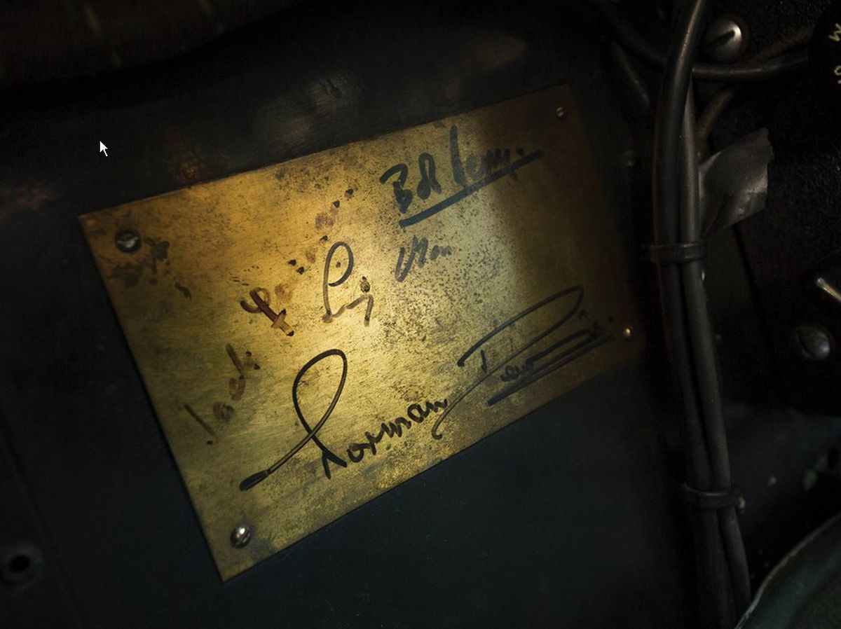 A plaque signed by Norman Dewis and Stirling Moss. Picture credit: Patrick Ernzen © 2017 Courtesy of RM Sotheby's