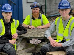 Dan Davies, Jon Goss and Louie Bowen, the three new carpentry apprentices at Pave Aways