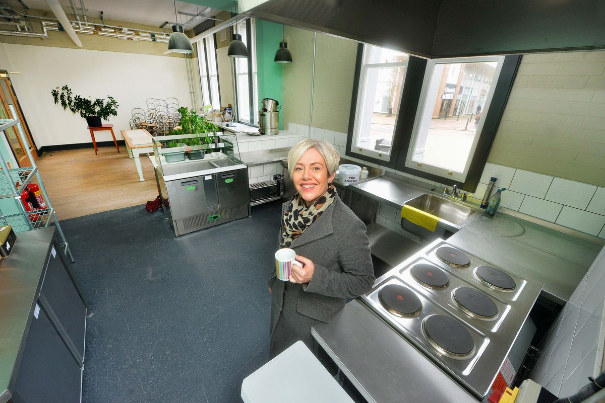 Lyndy Boden, chairwoman of Anstice Community Trust, in the new kitchen/cafe area