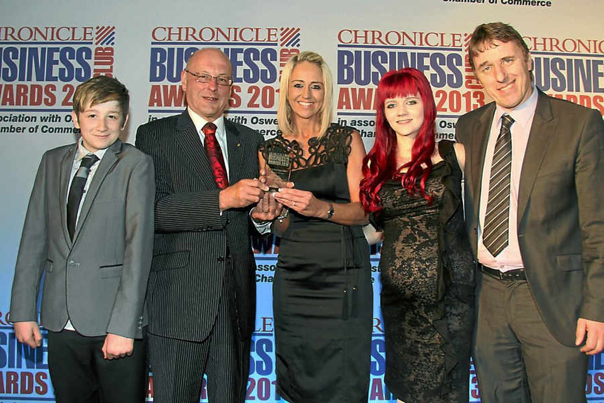 Winners from Elegent Finishing Touches, from left, Oliver Gwilliam, Ian Glennister, of Lanyon Bowdler, presenting, Jo Sudlow, Harriet Byrne, Keith Sudlow