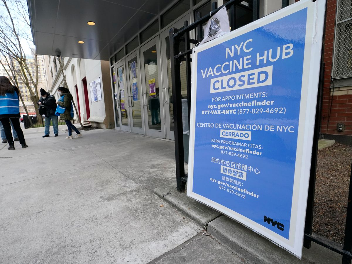 A closed vaccine hub in New York