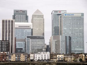 London Skyline of UK banks in Canary Wharf