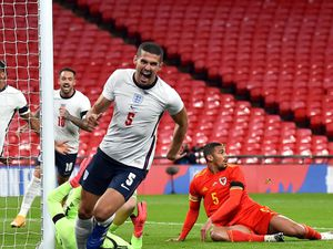 Conor Coady scores for England. Picture: Glyn Kirk/PA Wire.
