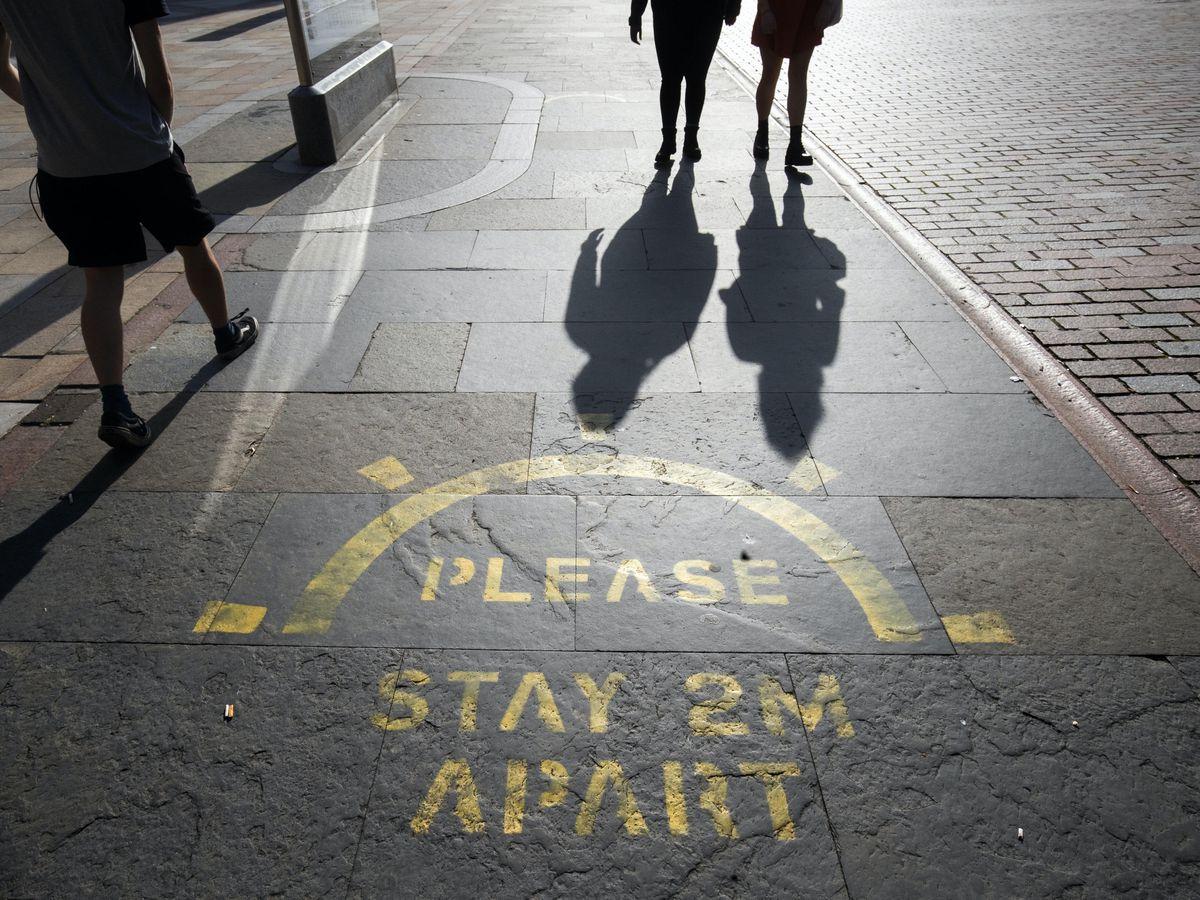 Social distancing on high street