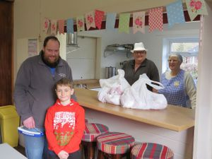Craig Roberts Butcher and his son Dylan with husband and wife team Ted and Anne Johnston.