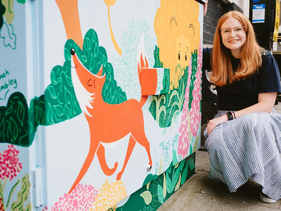 Hannah Chumbley with her creation on Wyle Cop