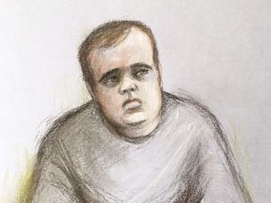 Court artist sketch by Elizabeth Cook of Matthew Selby, 19, who is accused of murdering his 15-year-old sister Amanda. Image: Elizabeth Cook/PA Wire
