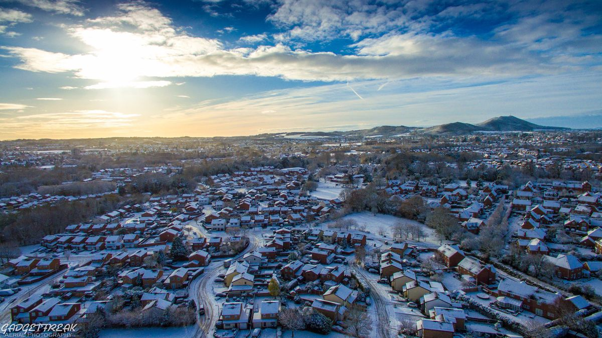 An aerial view of snowy Telford. Photo: Gadgetfreak Aerial Photography.