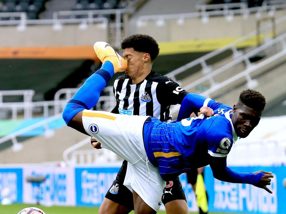 Yves Bissouma (front) was given a red card after he back heeled Newcastle defender Jamal Lewis during Brighton's 3-0 win at St James' Park