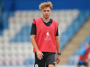 TELFORD COPYRIGHT MIKE SHERIDAN Henry Cowans of AFC Telford during a first team training session at the New Bucks Head Stadium, Telford, on Saturday, July 25, 2020..MS202021-017.