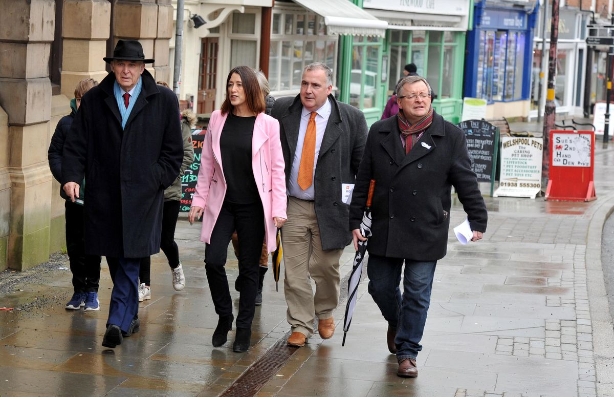 On the way to the meeting on wet Welshpool streets