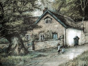 nostalgia pic. Church Stretton. nostalgia pic in colour. A watercolour of Pryll Cottage, Burway Road, Church Stretton. From about 1900. The artist is only known by the initials E.A.R. This sent in by Mrs Joyce Davies of Church Stretton in connection with protests about plans in 2020 to extend the cottage. Library code: Church Stretton nostalgia 2020..