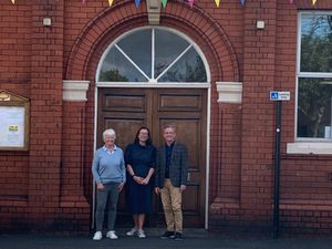 Celebrating the new venture for Oswestry Memorial Hall were, left to right, Memorial Halltrustee Erica Moss, Claire Evans of Shropshire Council and Vernon Hogg of Hadleigh Management.