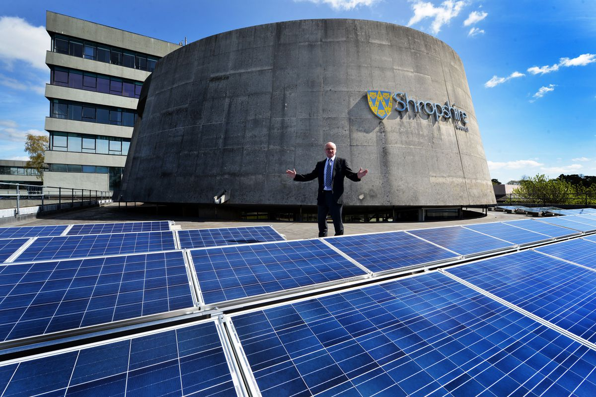 Solar panels on the roof of Shirehall in Shrewsbury