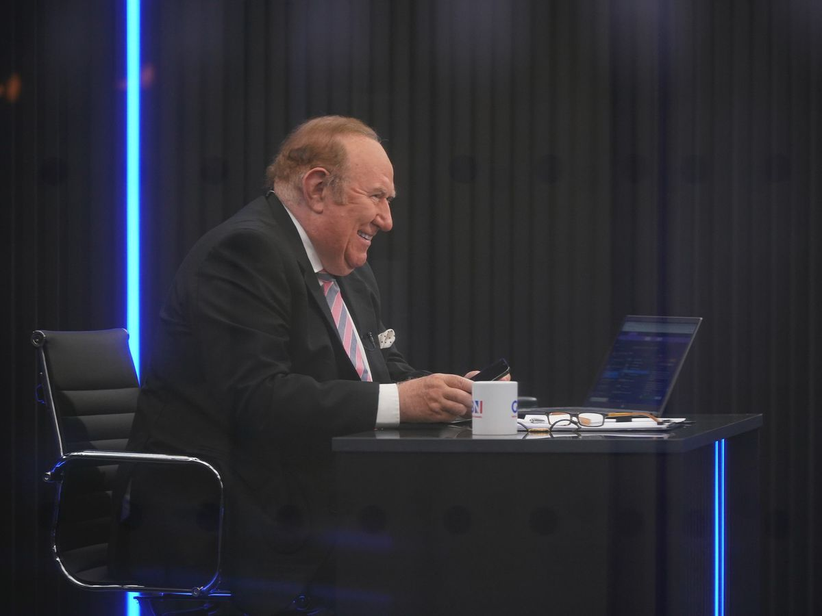 Presenter Andrew Neil prepares to broadcast from a studio during the launch event for new TV channel GB News