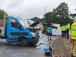 Van flipped onto side in Welshpool crash