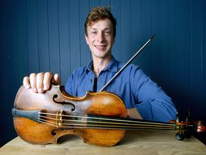 Conor Gricmanis 26, has been loaned this Andrea Amati violin which dates from 1572, to record his new album