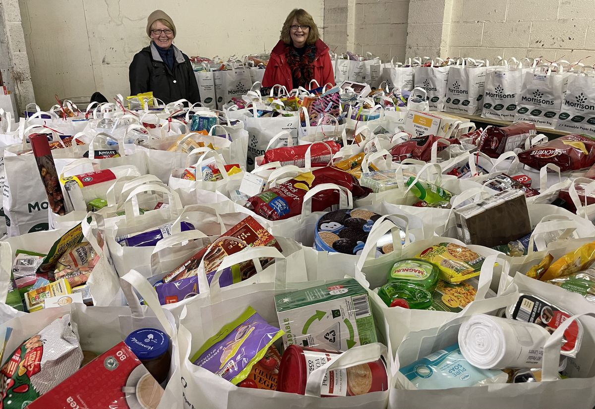 An estimated four tons of food has been handed out to those in need