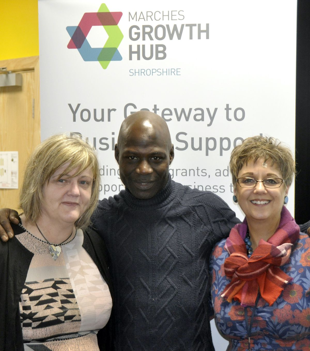 Lucas Karemo with Anna Sadler, left, and Emma Chapman from the Marches Growth Hub Shropshire