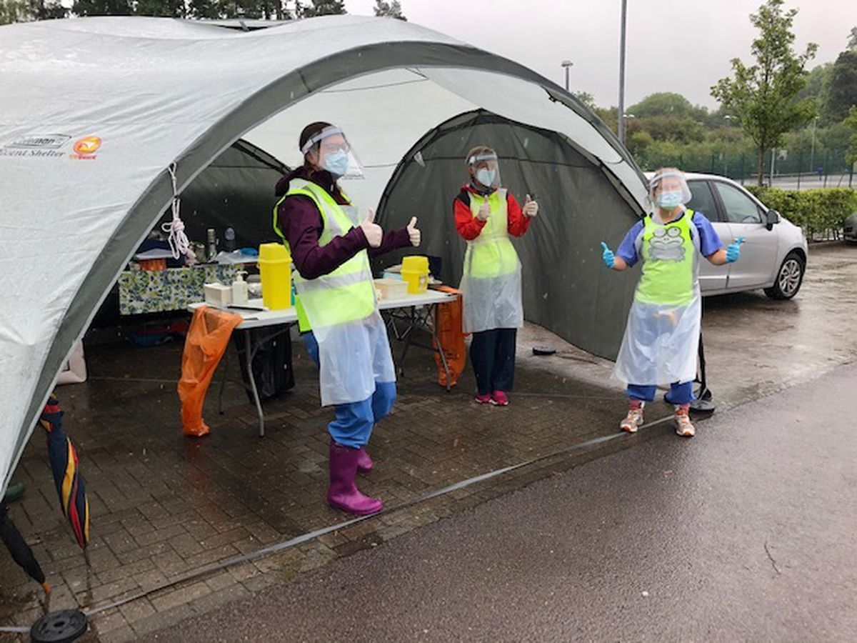 """Staff from Much Wenlock and Cressage Medical Practice held their first """"Drive Thru"""" Vaccination Clinic on Wednesday"""
