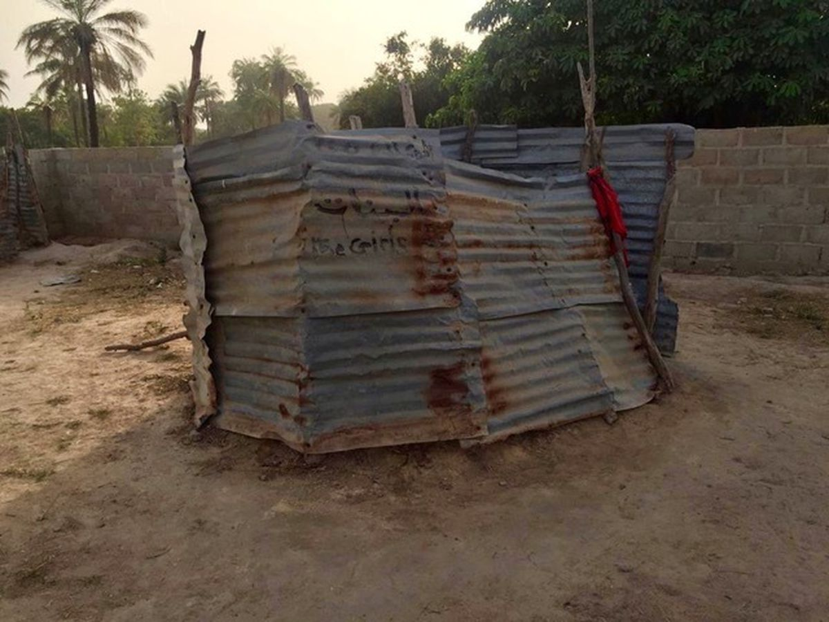 The original toilets for more than 400 children at Ba Ebrima Saidy School in Sanyang.