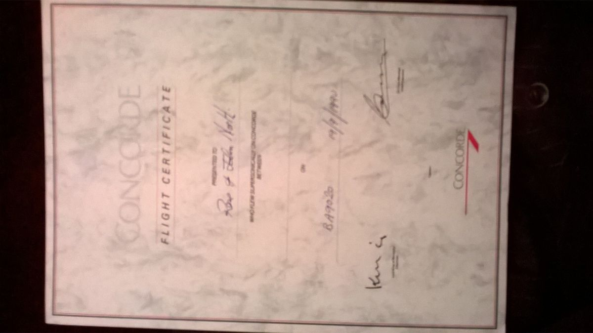 The certificate John and Rose North were issued with for their Concorde flight