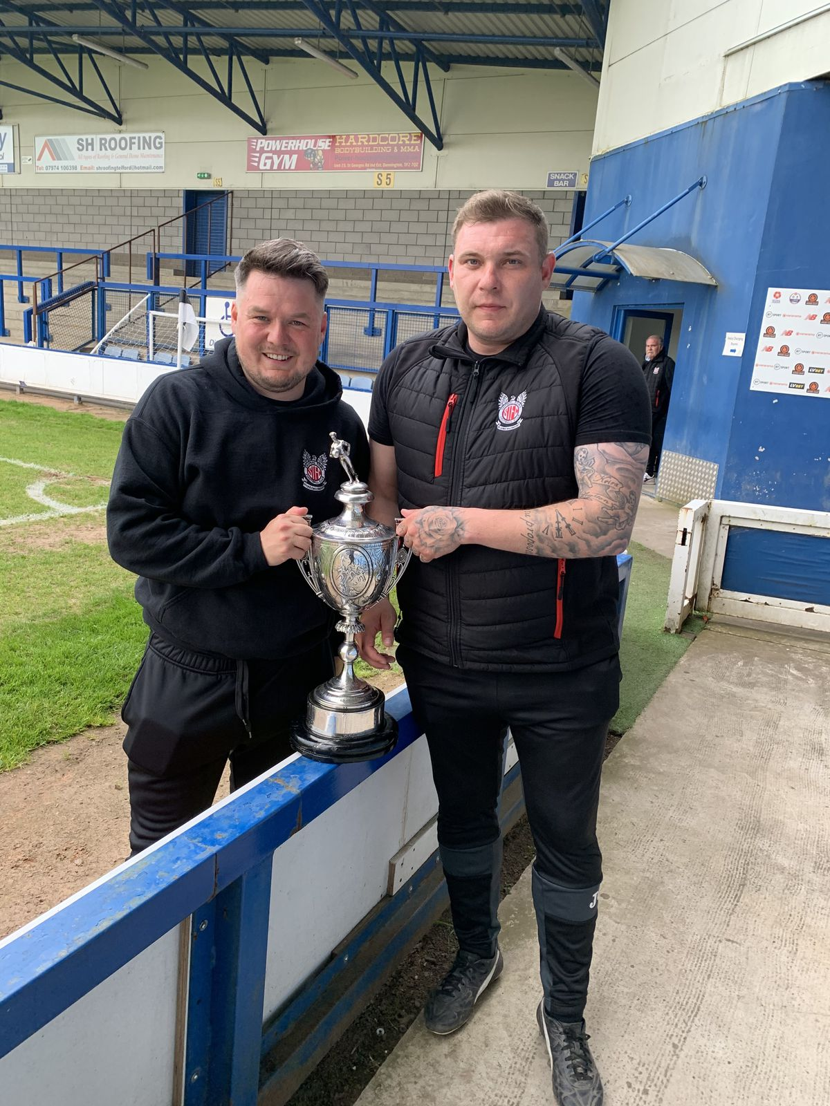 Managers Andrew Carrier, left, and Dan Carter after Shifnal Town won the Shropshire Senior Cup against Whitchurch Alport