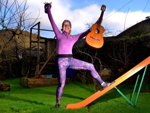 Artist, musician and fitness instructor Sally TongeSHREW COPYRIGHT SHROPSHIRE STAR STEVE LEATH 29/01/2021..Pic in Stiperstones of Artist/ Musician/ Musical Therapist/ Fitness Instructor: Sally Tonge. Story on the work she has been doing during lockdown, including singing therapy down the phone, and some online workshop coming up in partnership with Shropshire Council, aimed at those in the arts, but of interest to all, including desk exercises etc etc..