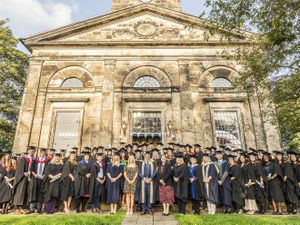 Telford College higher education students celebrate at their graduation in Wellington, with the college's leadership team, plus guest speakers Teresa Boughey and Abi Allen. Pic: Amy Bray Photography.