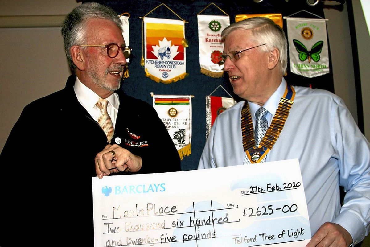 Alan Olver, left, with David Shelmardine of the Rotary Club of The Wrekin