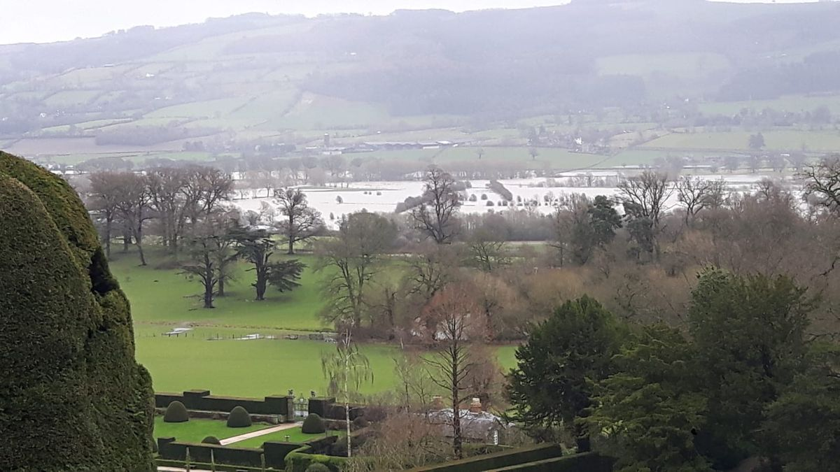 Floodwater visible from Powis Castle on the outskirts of Welshpool