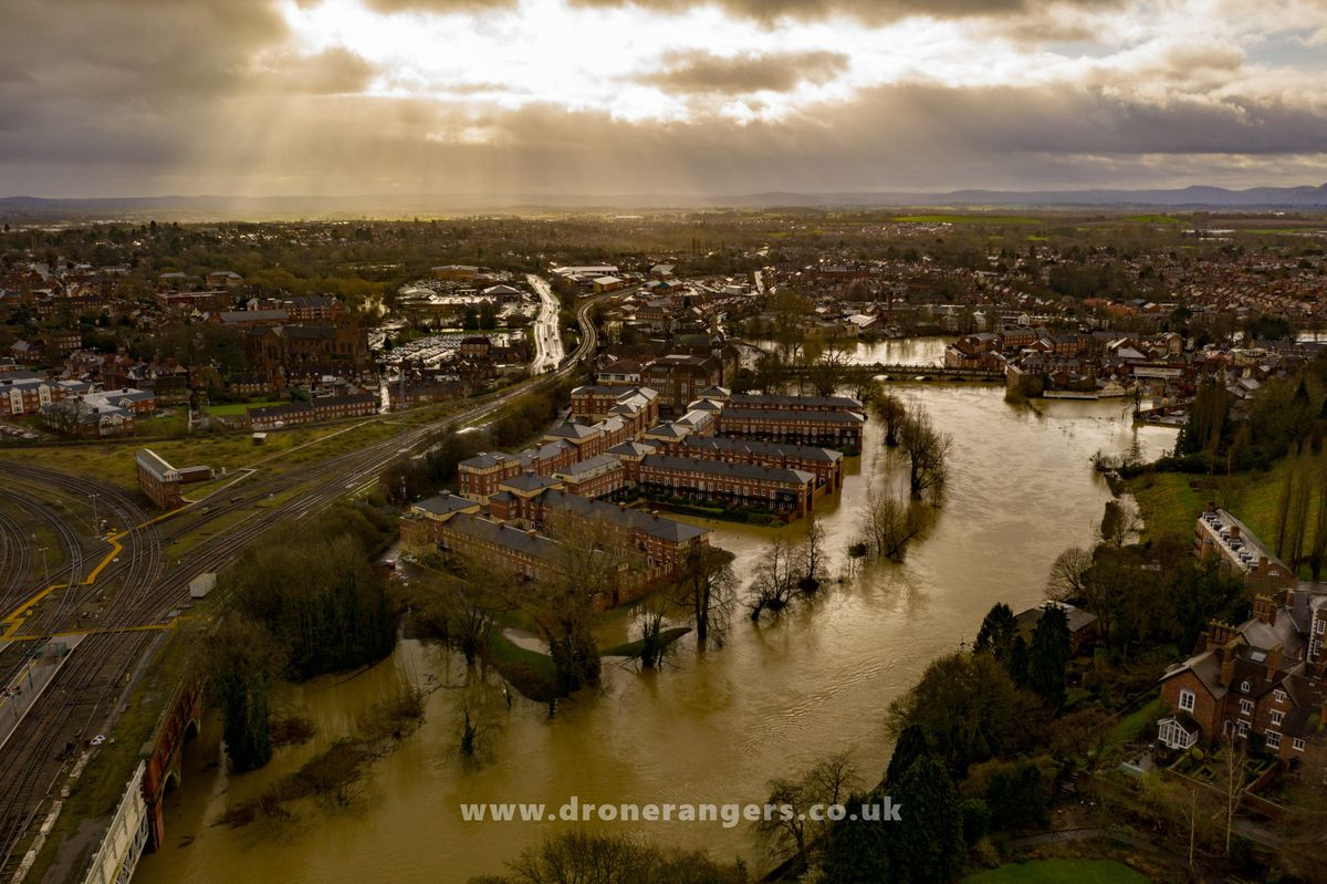 Looking towards the English Bridge in Shrewsbury after Storm Dennis. Photo: Shropshire Council and the Drone Rangers