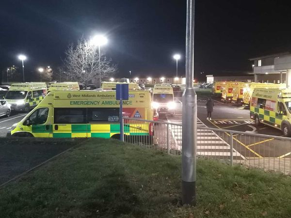 Ambulances waiting outside Princess Royal Hospital in Telford. Photo: Dave Hanley