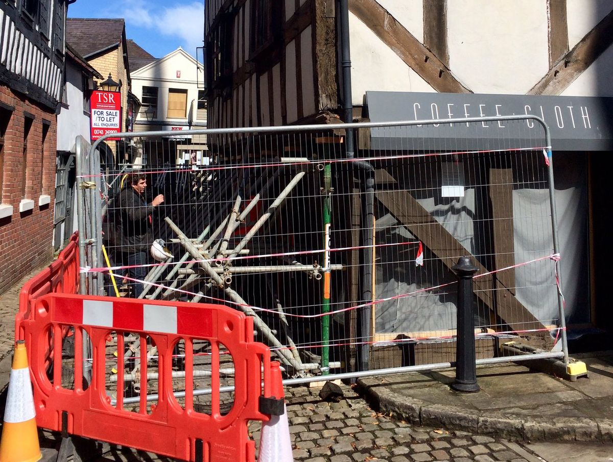 Supports have been put up at Bear Steps in Shrewsbury. Photo: W Tomaszewski