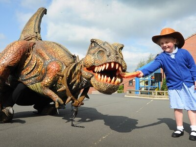 What's for dinner? Day a T-Rex came to Telford primary school