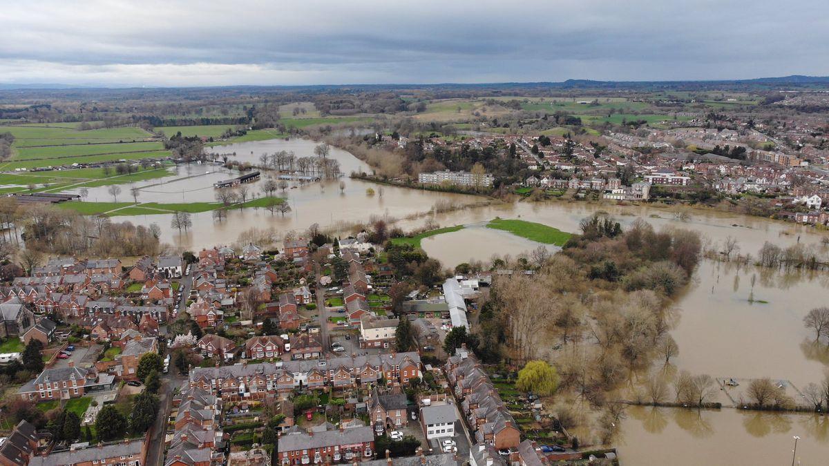 The flooded Showground in Shrewsbury