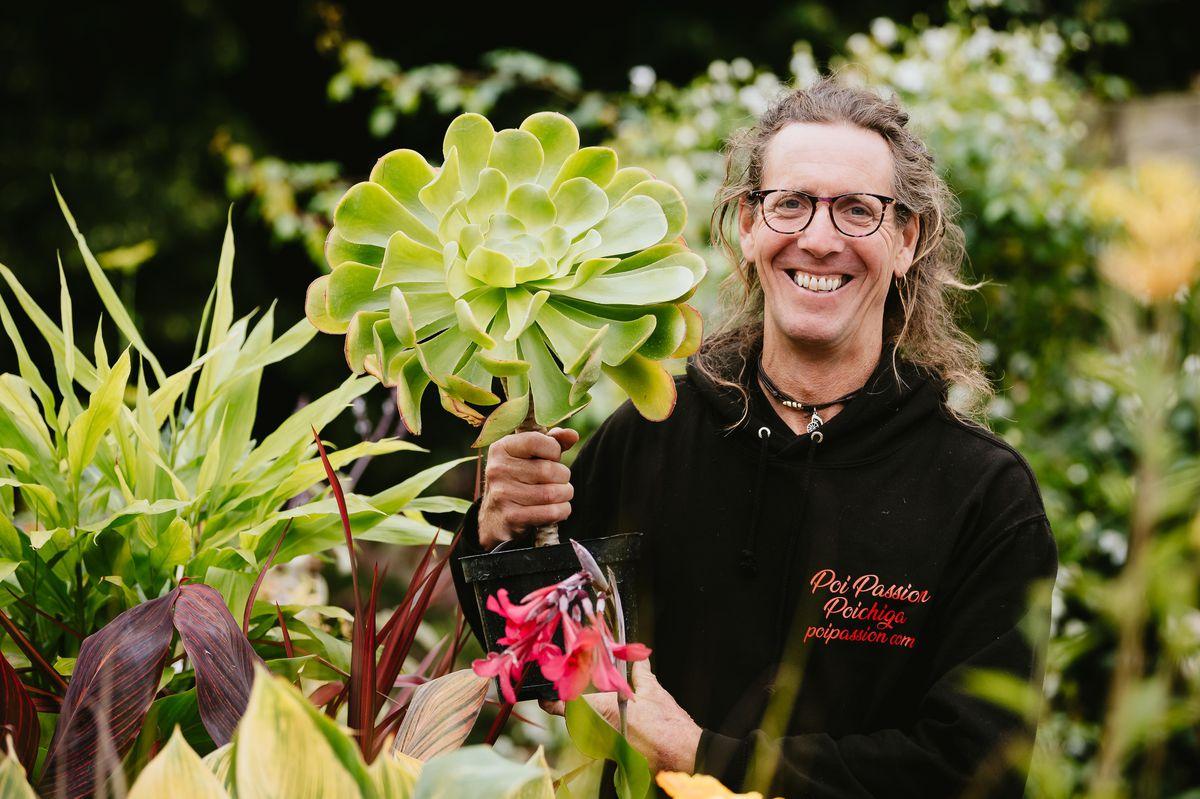 Nic Ffoulkes Jones from Hall Farm Nursery near Oswestry holding an Aeonium