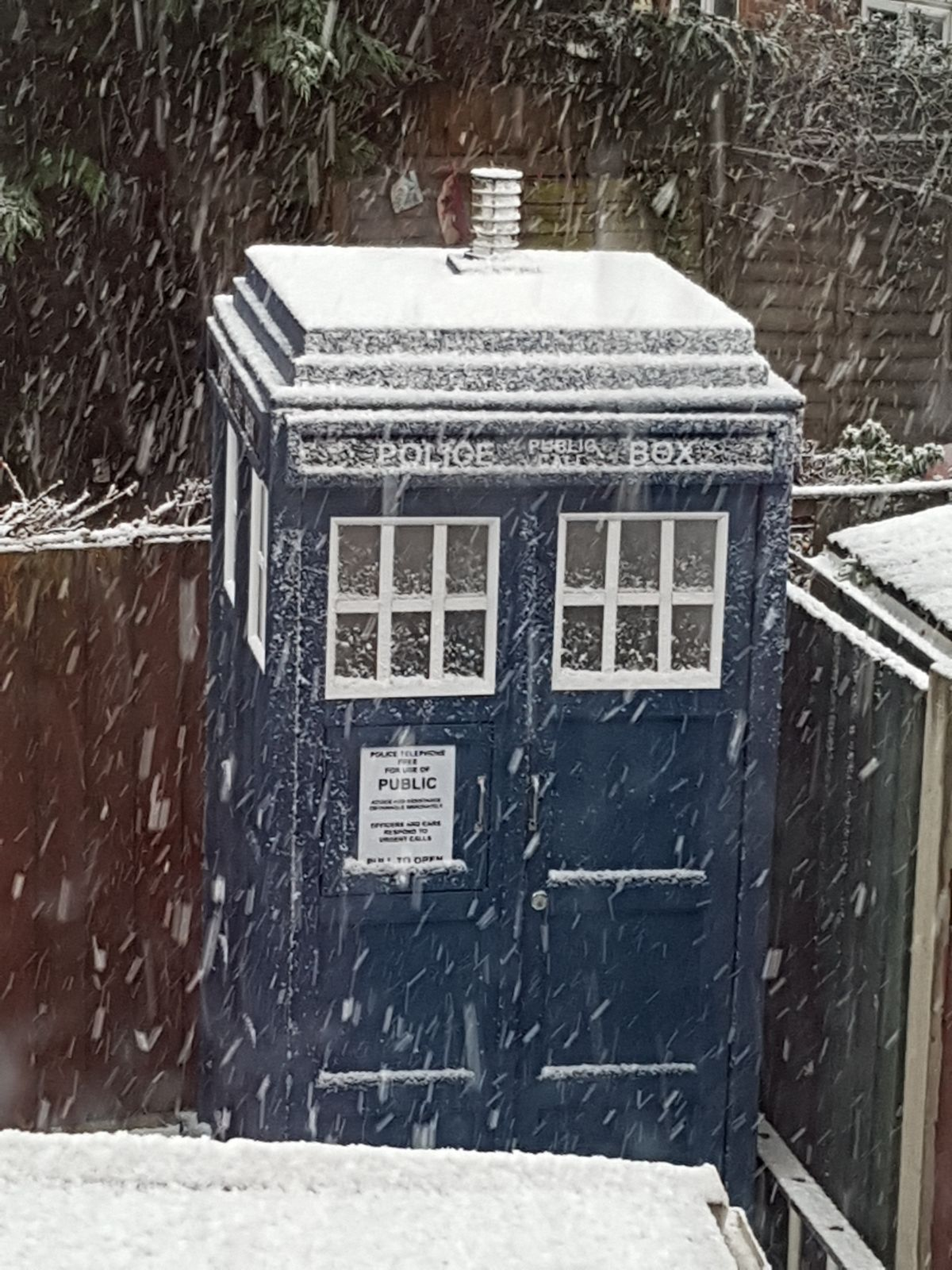 Picture of a Shrewsbury Tardis covered in snow from Paul morris