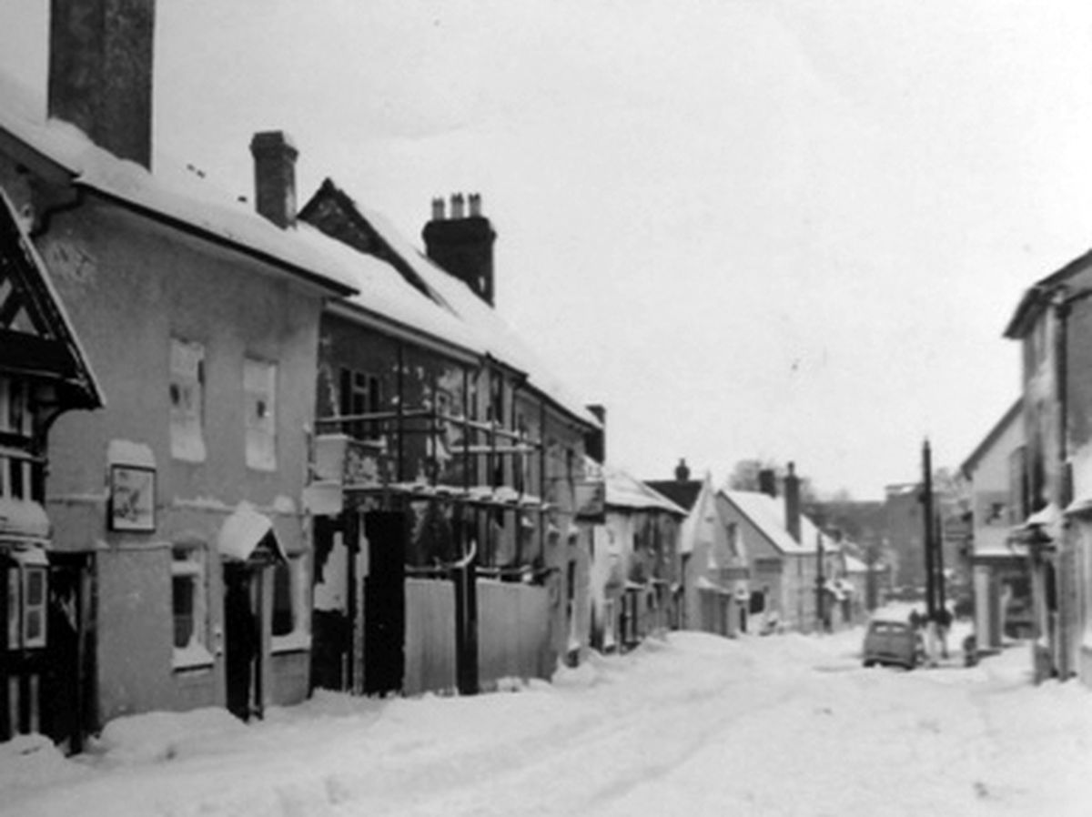 Brrr... Church Street, Bishop's Castle, in the winter of 1964 or 1965.