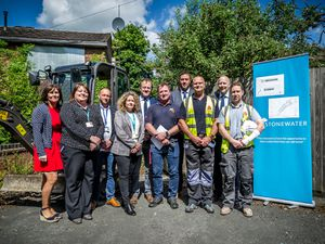 Representatives from Stonewater, Hereforshire Council, Alabaré, the RBL and Harper Group Construction Ltd at the site.