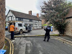 The telegraph pole blocking the road. Photo: @SouthShropCops