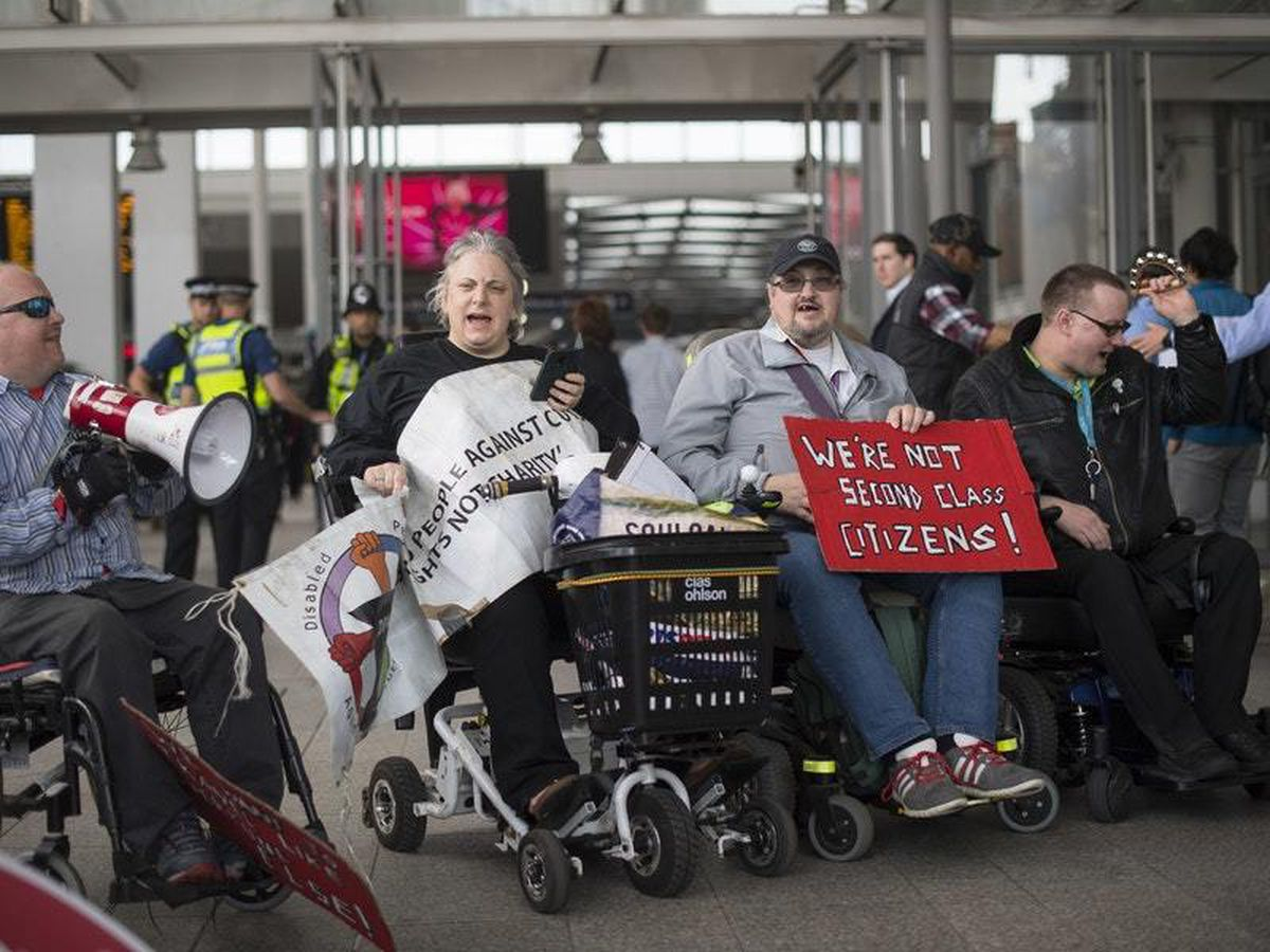 Disability campaigners protesting at a central London station