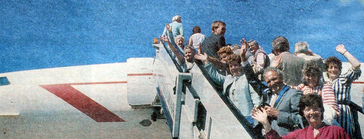 Passengers boarding Concorde for the Shrewsbury Flower Show