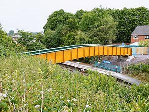 LAST COPYRIGHT SHROPSHIRE STAR JAMIE RICKETTS 27/06/2021 - New footbridge near Oakengates Station under a £1 million improvements scheme..